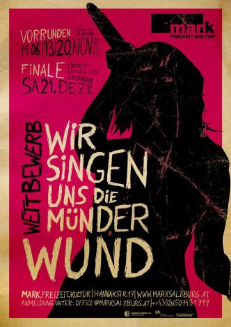 Plakat des Gesangswettbewerbs: Wir singen uns die Münder wund